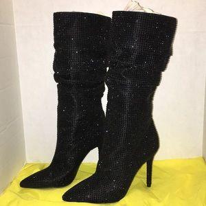 Jessica Simpson Layzer rhinestone black boot 8 NEW